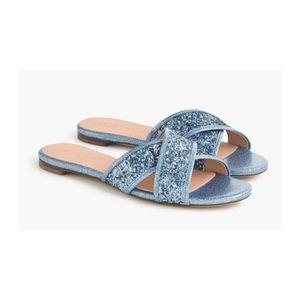 NEW J.Crew Glitter Cora Crisscross Sandals